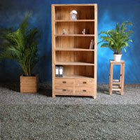 Indonesian Teak Furniture Bookcase 4 Drawers Preview Version