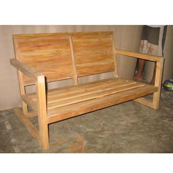 Block Ended Sofa 2 Seat Indonesian Teak Furniture Preview