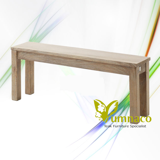 Indonesian Reclaimed Teak Furniture White Recycled Backless Bench