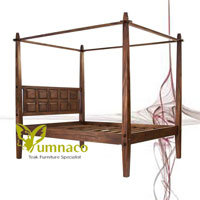 Yumna Bali Wood Canopy Bed - Indonesian Reclaimed Recycled Teak Furniture