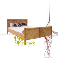 Yumna Chevron Vintage Bed Reclaimed Recycled Indonesian Teak Furniture