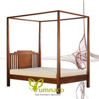 Yumna Indo Bed Modern - Reclaimed Recycled Indonesian Teak Furniture