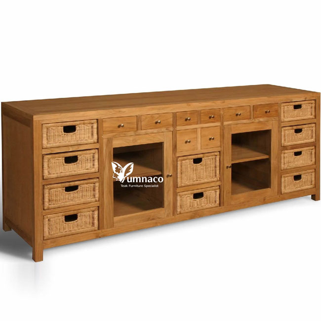 Teak Furniture Yumna Dresser with Rattan Drawers