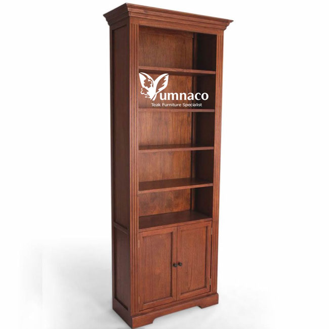 Teak Patio Furniture Yumna Plantation Style Modular Bookshelf 2 Doors