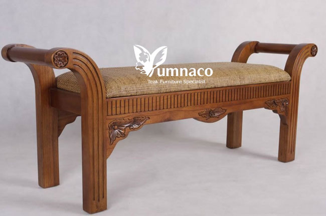 Teak Furniture Yumna Plantation Style Bedroom Stool