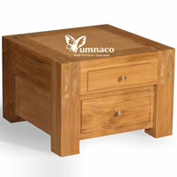 Low Bedside 2 Drawers - Reclaimed Indonesian Teak Furniture