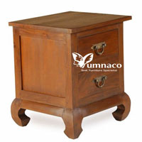 Bety Opium Bedside with 2 Drawers - Reclaimed Indonesian Teak Furniture
