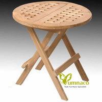 Yumna Folding Side Table Round - Indonesian Outdoor Garden Teak Furniture
